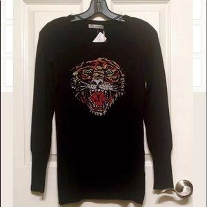 $325 ED HARDY BLACK STRETCH SWEATER CRYSTAL TIGER